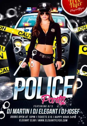 Police Party Free PSD Flyer Template