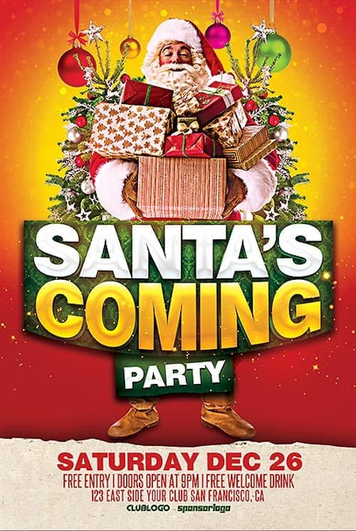 santa s coming party free psd flyer template download