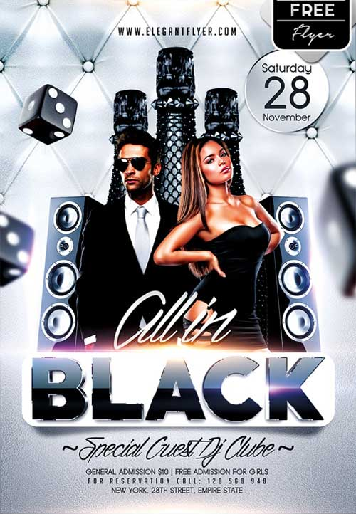 All in Black Party Free PSD Flyer Template