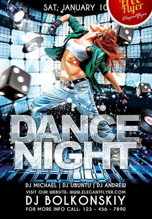 Free Dance Club PSD Flyer Template