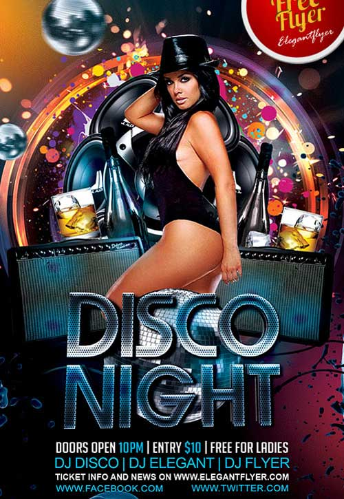 Freepsdflyer  Download Disco Night Free Psd Flyer Template For