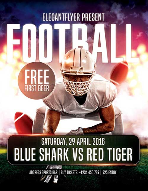 Download Free Football PSD Flyer Template for Photoshop PSD Freebie – Sports Flyers Templates Free