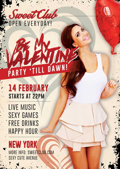 Free Be My Valentine Party Flyer PSD Template