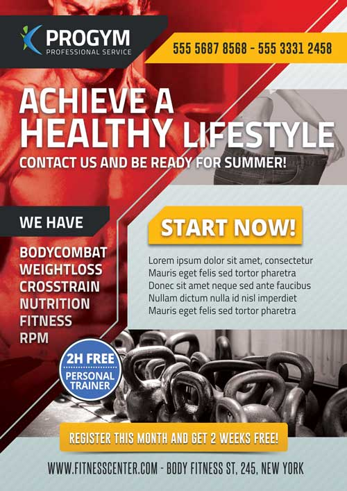 Download Free Sports Fitness Gym Business Flyer Template – Free Sports Flyer Templates