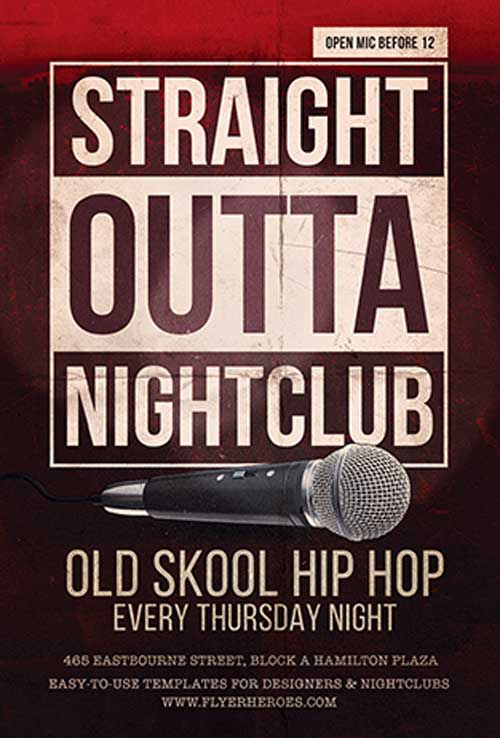 Free Straight Outta Club Flyer Template