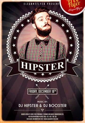 Hipsters Party Free PSD Flyer Template