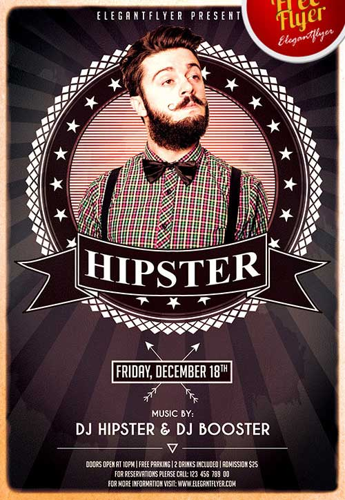 Freepsdflyer Download Hipsters Party Free Psd Flyer Template