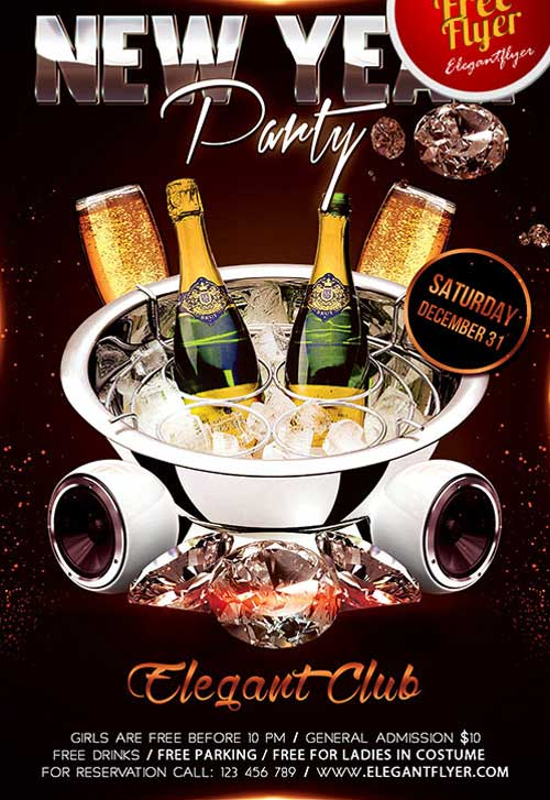 New Year Party Flyer Free Psd Template  Download For Photoshop