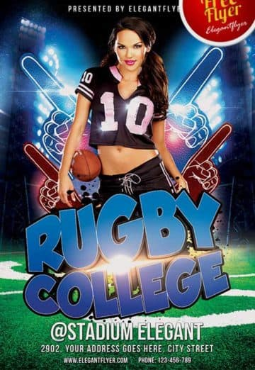 Free Rugby Game PSD Flyer Template