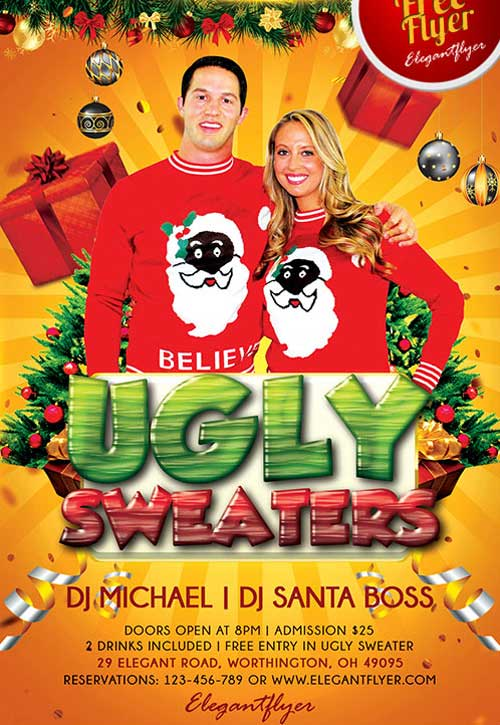 Ugly Sweater Party Flyer Free PSD Template