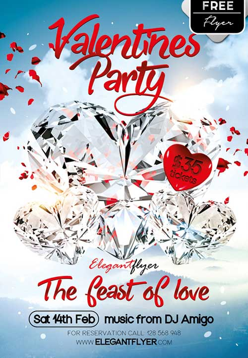 Valentine Party Free PSD Flyer Template