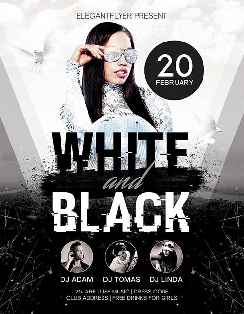 White and black party free psd flyer template