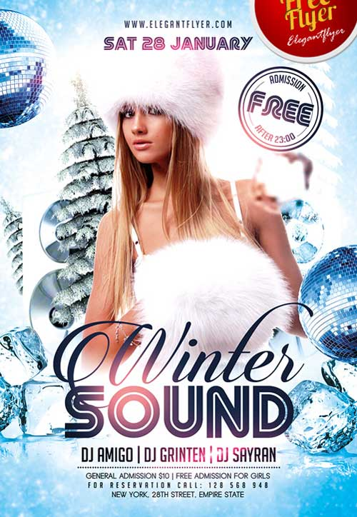 Free Winter Mix Party PSD Flyer Template