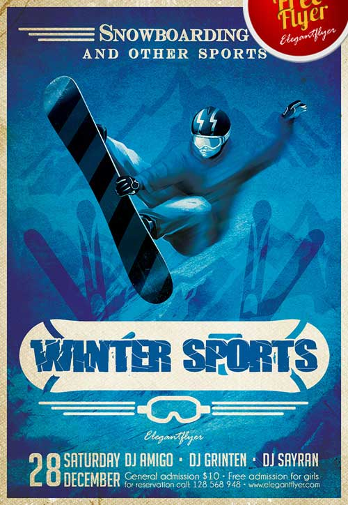 Winter Sports Free PSD Flyer Template