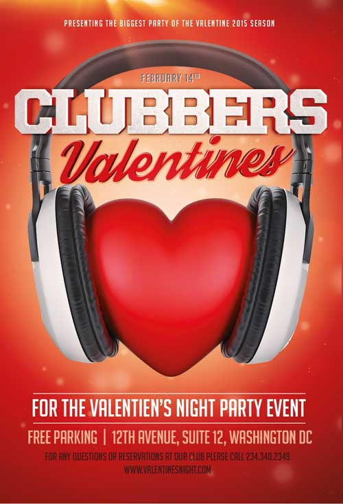 Free Clubbers Valentines Club Flyer Template
