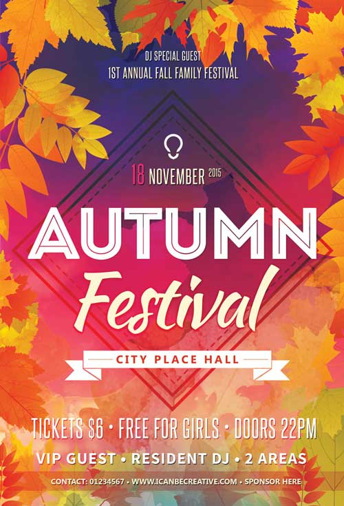 Autumn Сelebration Party Free PSD Flyer Template