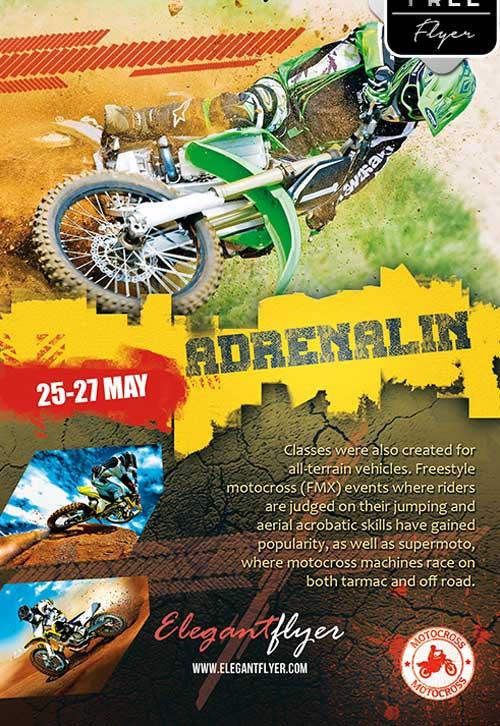 Adrenalin Motorcross Event Free PSD Flyer Template