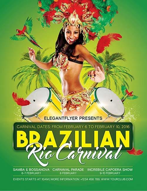 Brazilian Rio Carnival Free PSD Flyer Template