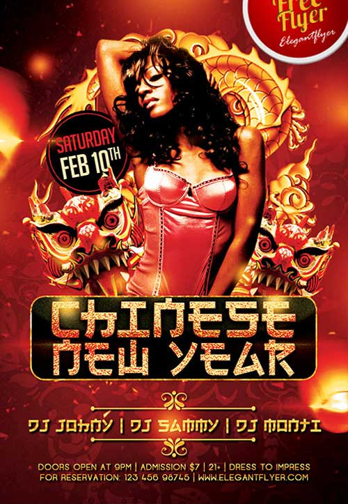 Free Chinese New Year PSD Flyer Template