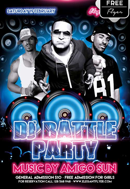 DJ Battle Party Free PSD Flyer Template