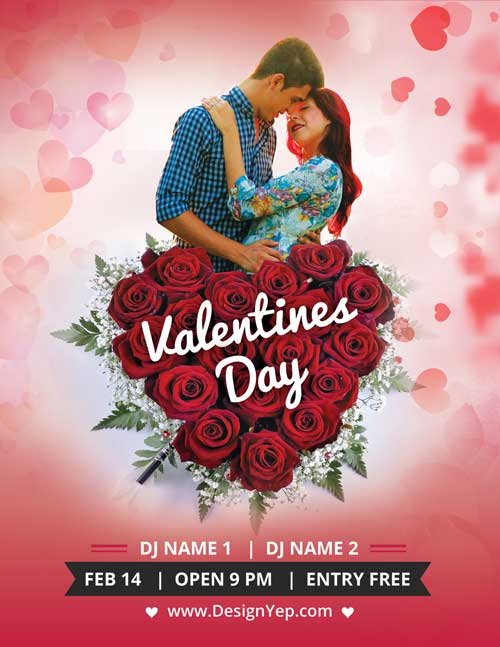 Valentines Day Party Free PSD Flyer Template