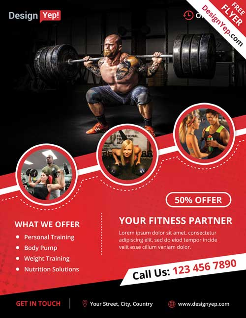 Download Free Fitness  Gym Psd Flyer Template