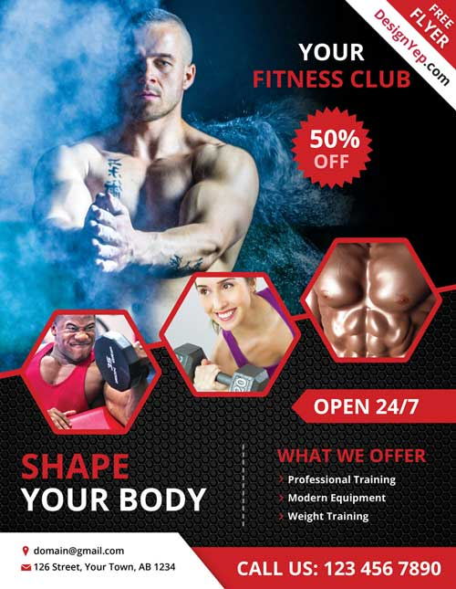 Free Fitness and Gym PSD Flyer Template