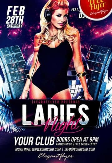 Free Ladies Night Club PSD Flyer Template