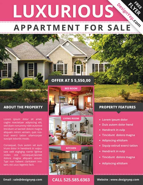 Download free real estate flyer psd flyer template for House for sale brochure template