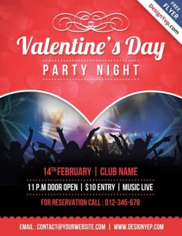 Free Valentines Party Flyer PSD Template