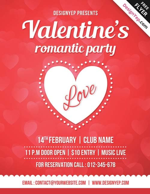 Valentines Day Free Party PSD Flyer Template