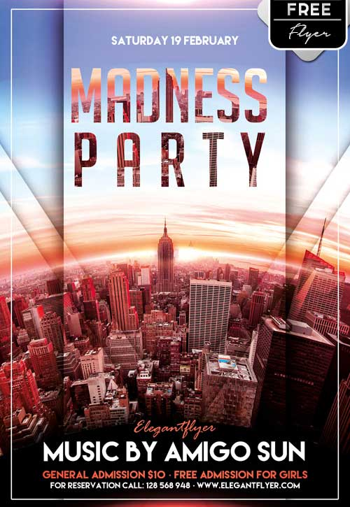 Madness Party Free PSD Flyer Template