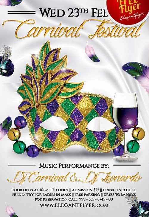 Free Mardi Gras Festival PSD Flyer Template