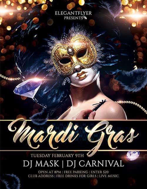 Download Mardi Gras Carnival Free Psd Flyer Template