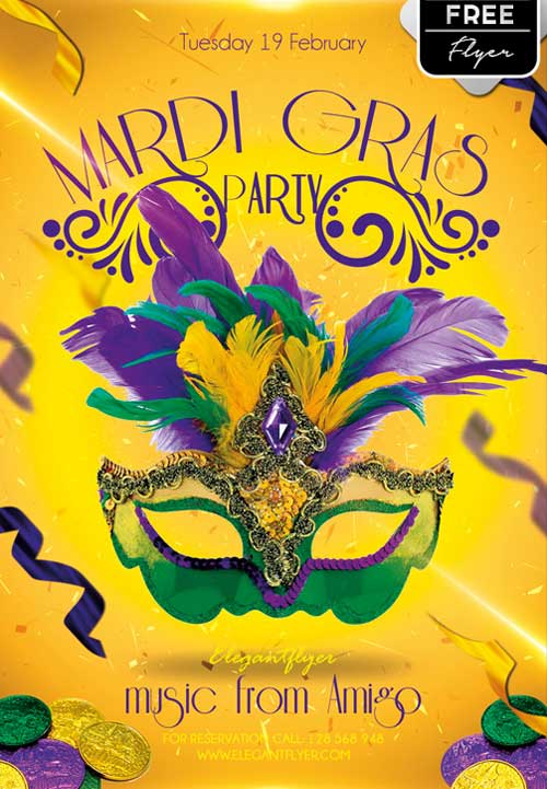 Free Mardi Gras Party PSD Flyer Template