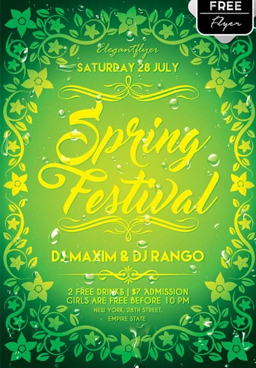 Spring Festival Free PSD Flyer Template