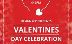 Valentines Day Free Party Flyer PSD Template