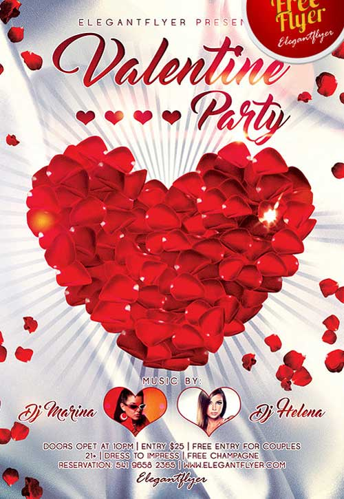 Free Valentines Day Party PSD Flyer Template