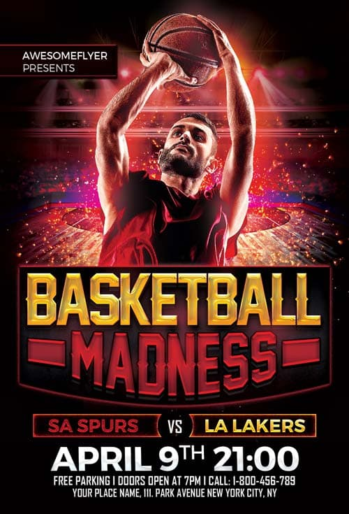 Basketball Madness Free Flyer Template