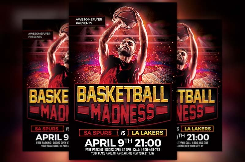 Download the Basketball Madness Free Flyer Template