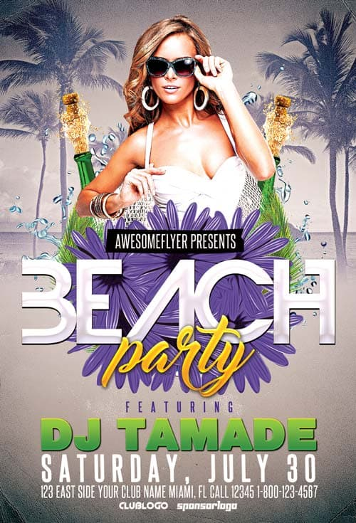 Download Summer Beach Club Party Free Flyer Template