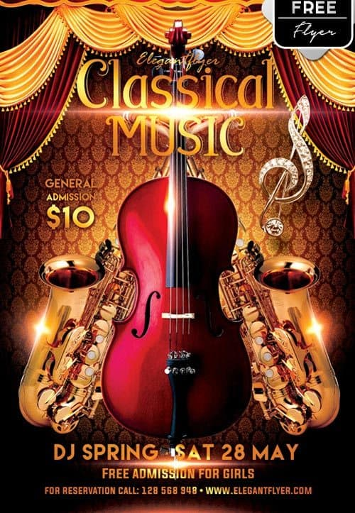 Classical Music Party Free PSD Flyer Template