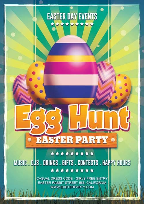 Freepsdflyer  Download Easter Day Egg Hunt Free Flyer Template