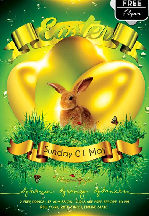 Freepsdflyer  Download Easter Party Free Psd Flyer Template
