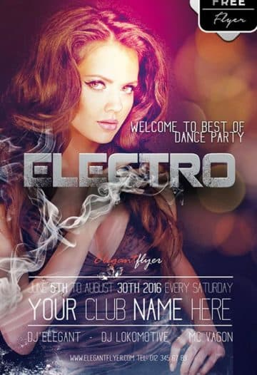 Electro Dance Party Free PSD Flyer Template