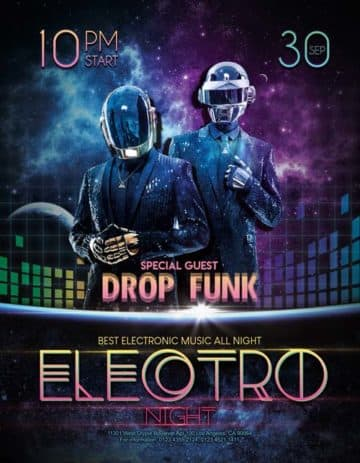 Electro Night Free Flyer PSD Template