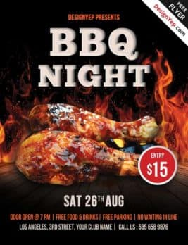 Free Barbecue Night PSD Flyer Template
