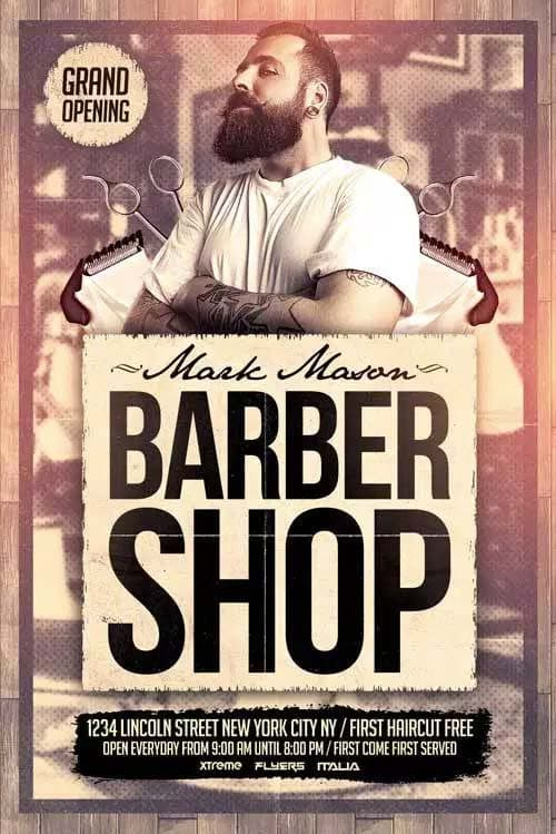 Barber Shop Free PSD Flyer Template