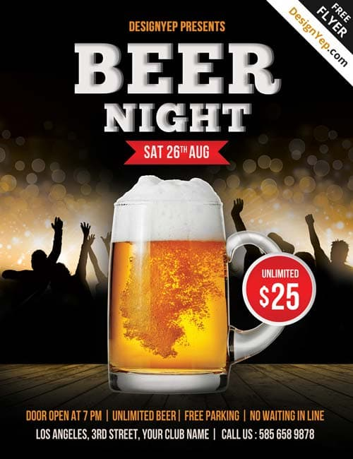 Freepsdflyer  Free Beer Night Psd Flyer Template  Download Free
