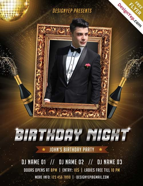 Delightful Free Birthday Bash Flyer Templates. Freepsdflyer Free Birthday Party Psd Flyer  Template .